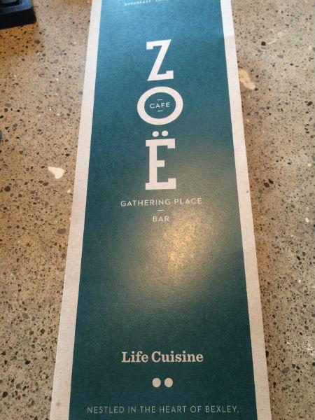 Zoe Cafe Menu