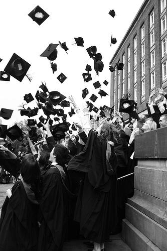 Grad caps in the air