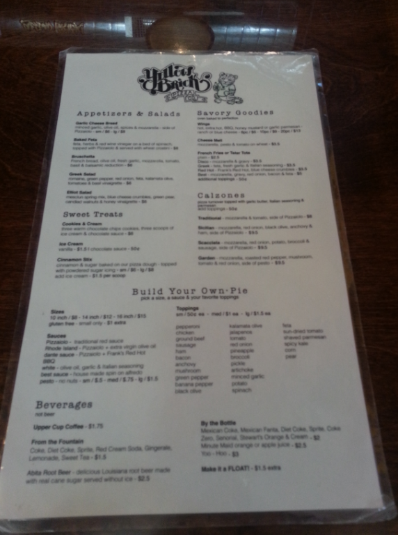 Yellow Brick Pizza Menu