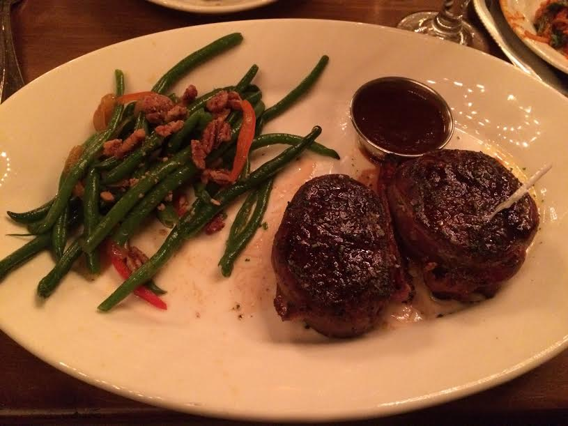 A bacon-wrapped steak